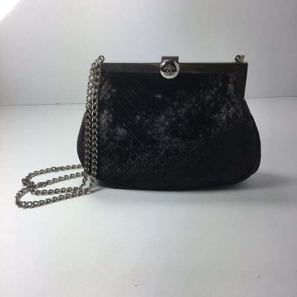 ce878144ac29e4 CHANEL Handbags - CHANEL quilted velvet double chain evening bag